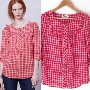 Anthropologie Pink Gingham Button Down Shirt 10